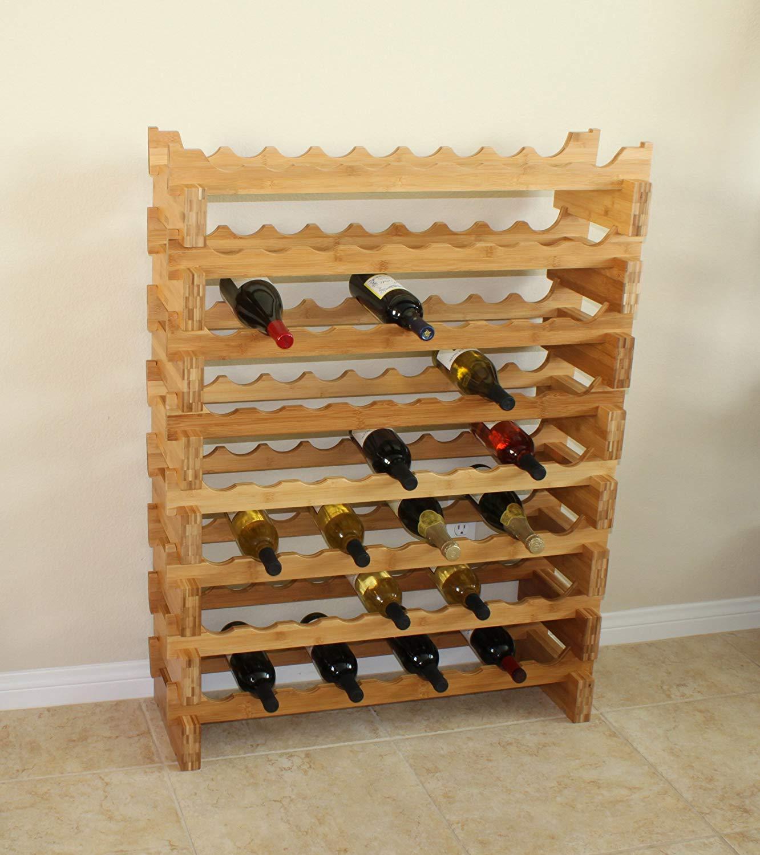 18-Bottle Stackable Bamboo Wine Rack wall mounted wine rack foe wholesale 5