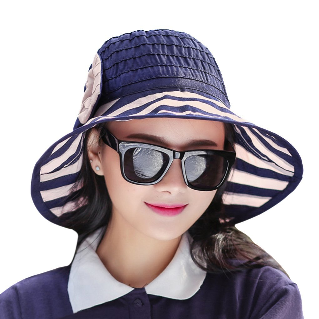 06348a4e33aa9 Get Quotations · Fashion Women s Girls Striped Floppy Sun Hat