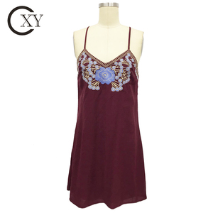 Customize Ladies Wine Embroidered Cami Slip Dress
