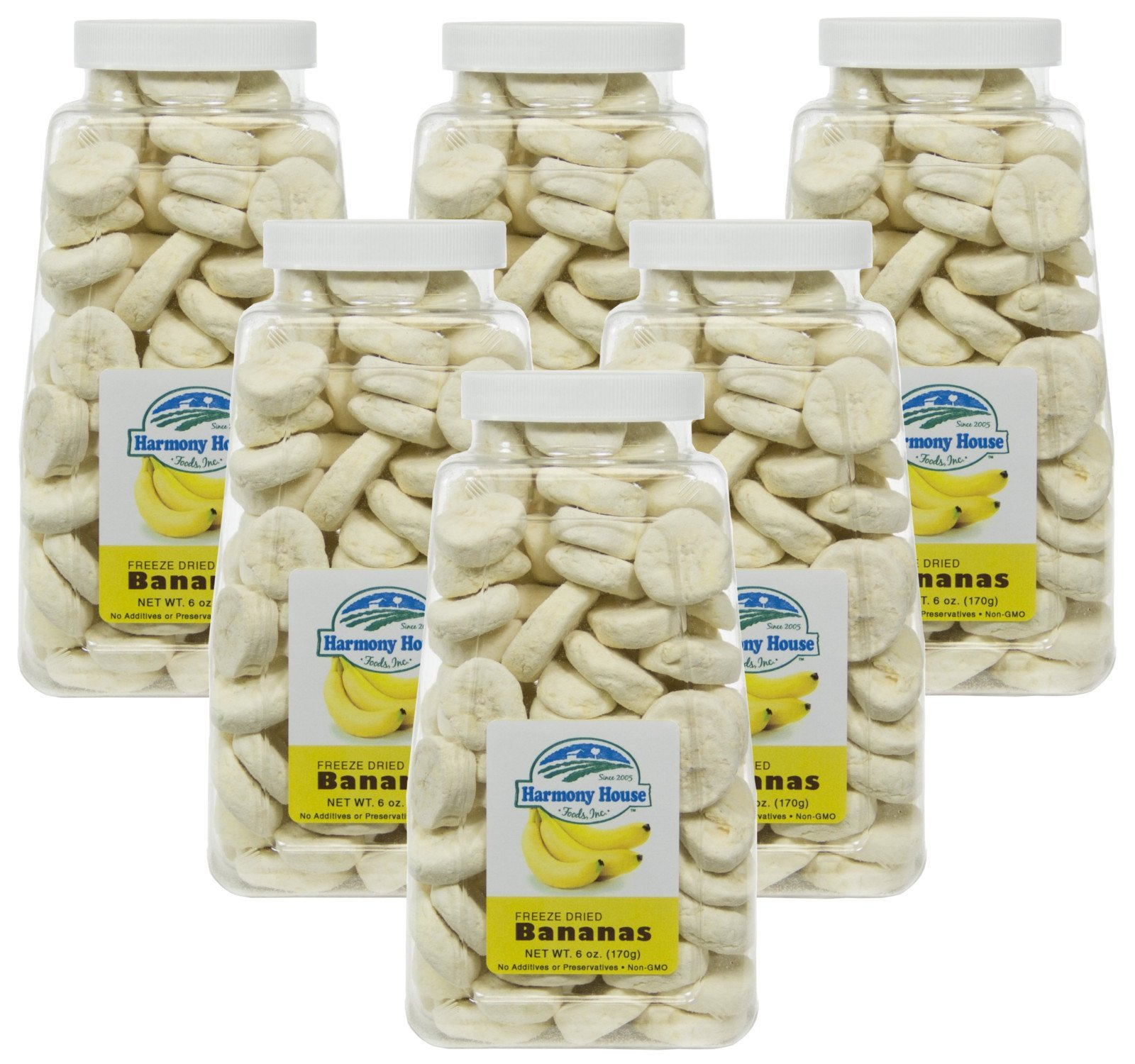 Harmony House Foods Freeze-Dried Banana, Slices (6 oz, Quart Size Jar) - Set of 6