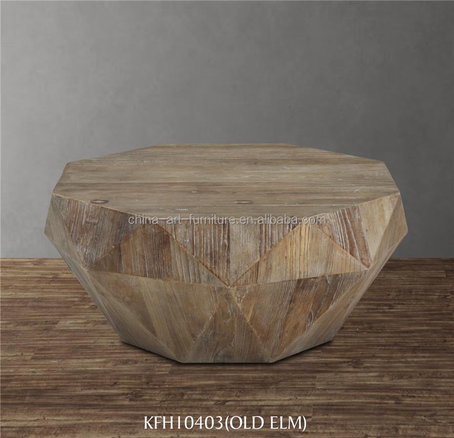 Wood pattern making coffee table,new design diamond shape, recylced pine, antique living room furniture