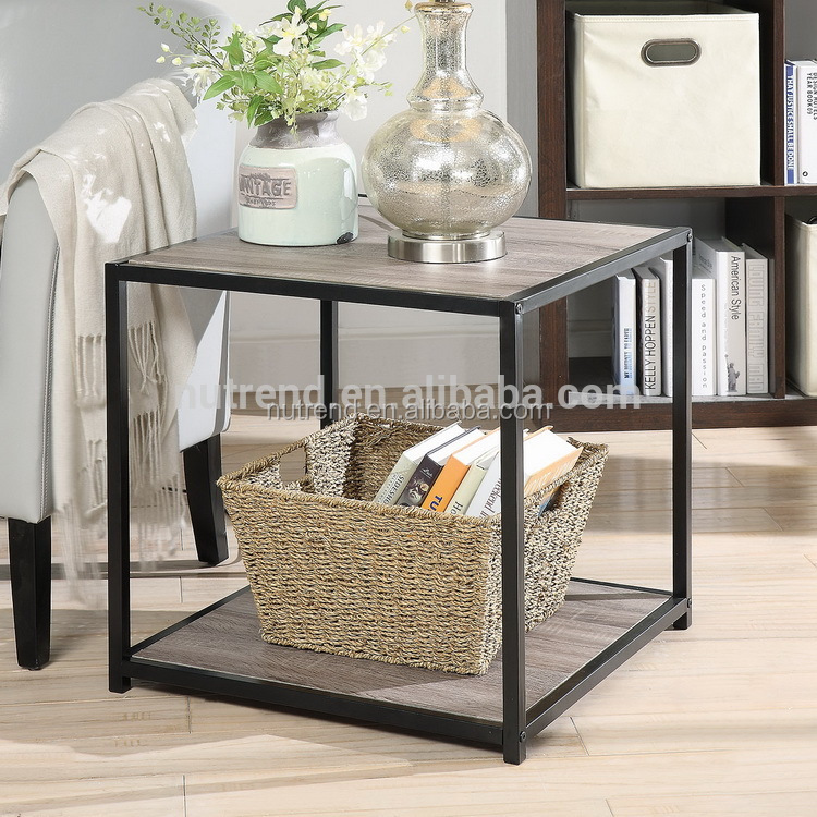 Cheap cube metal wood side table with storage shelf design