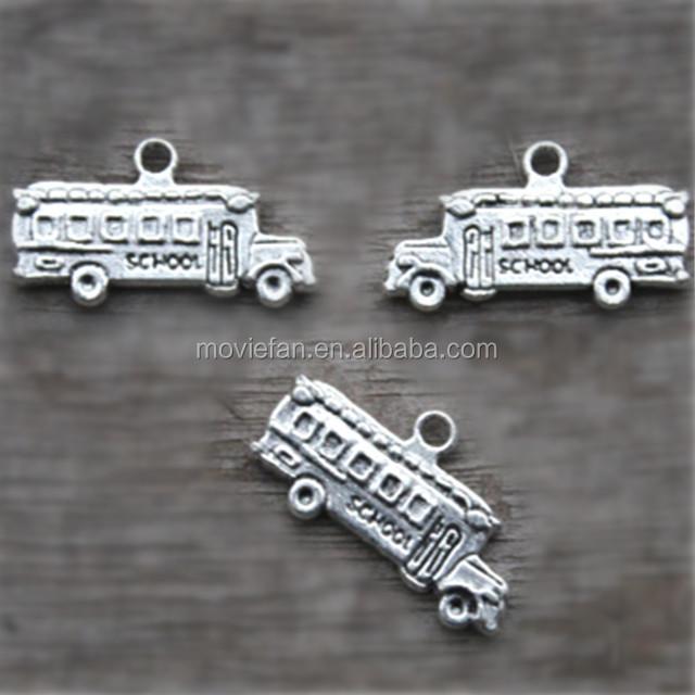 Silver Tone double decker bus Pendants 25x20mm 10pcs--Bus Charms
