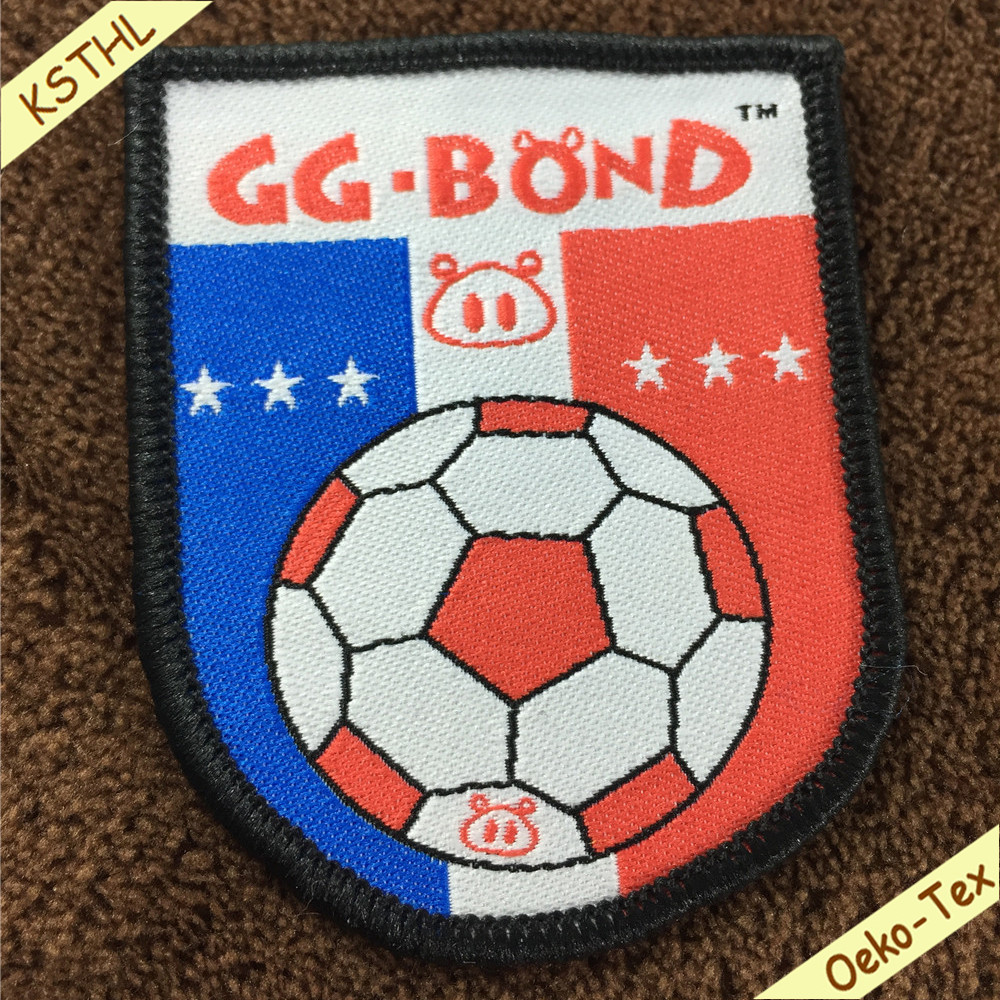 Soccer team iron patch custom woven logo patches with merrow border