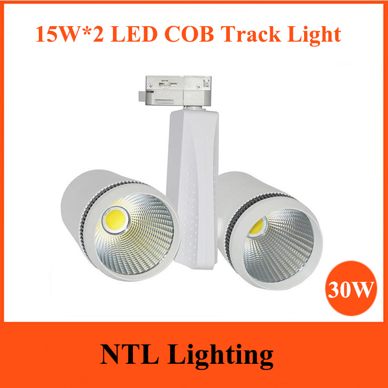 30w Led Track Lighting Fixtures: New Design 15WX2 Double Head LED Track Light 30W COB