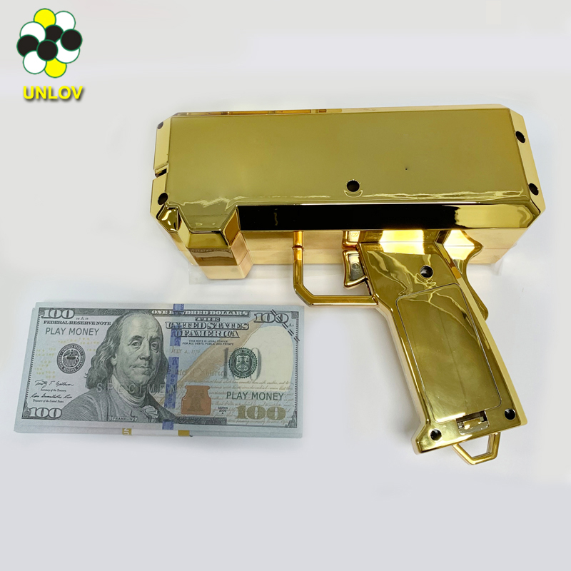 custom money box gold gun toy for cash, shooting game toy super money gun with money detector cash cannoon toys