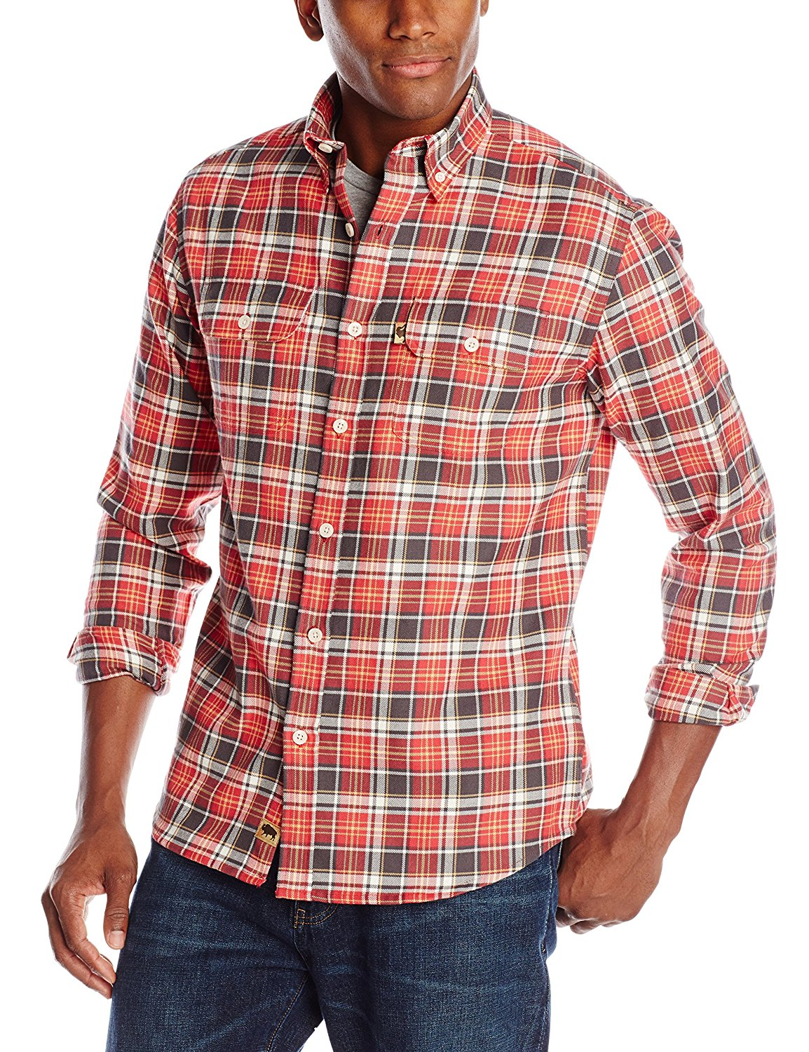 XQS Mens Shirt Checkered with Front Pockets Flannel Hoodie Plaid Long Sleeve