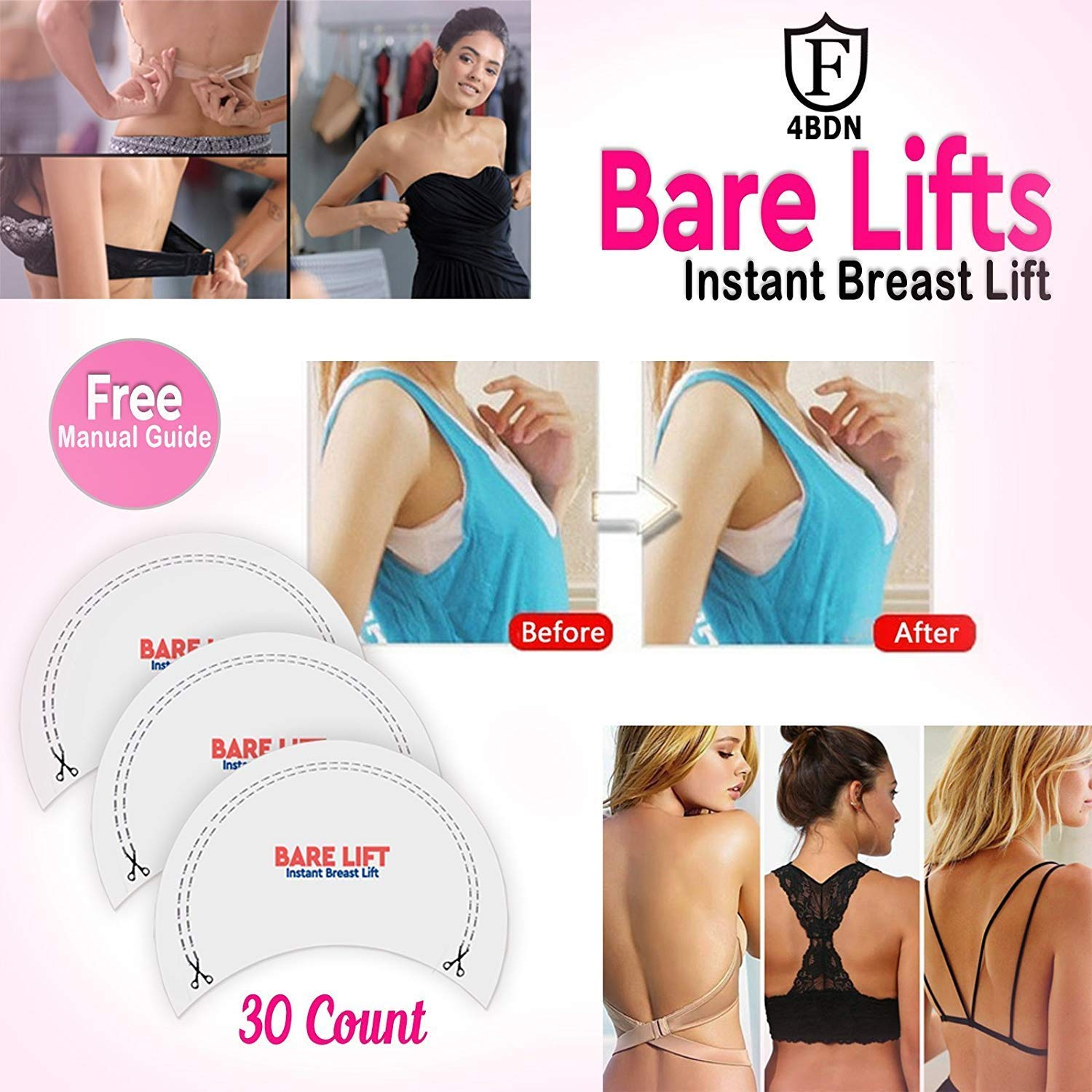 1f660559c Get Quotations · Bare Lifts Tape - Instant Boobs Lift Pasties - Breast Push  It Up Bust Shaper Bra