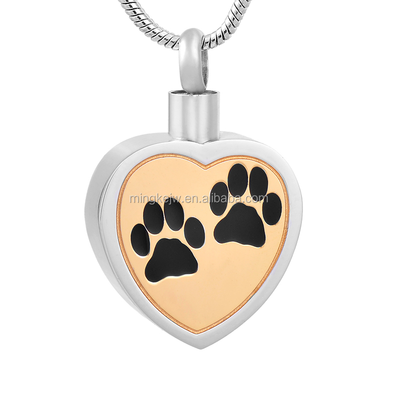 IJD8247 Pet Paw Printed Heart Cremation Pendant Funeral Urn Animal Ashes Holder Memorial