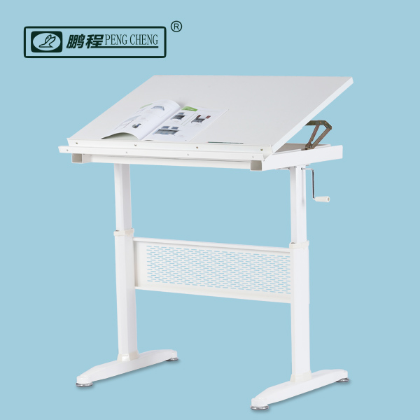 Good Quality Whtie School Furniture Height Adjustable Professional Art Desk