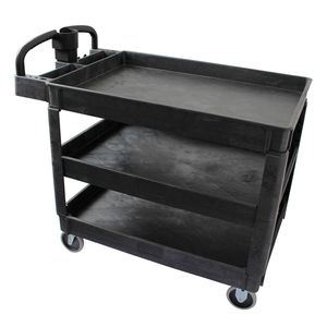 3 shelf Industrial heavy duty hand trolley plastic service utility cart