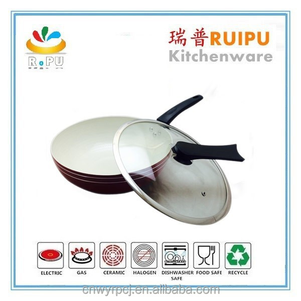 Fashion red aluminum fry pan set nonstick wok with induction bottom nonstick saute pan