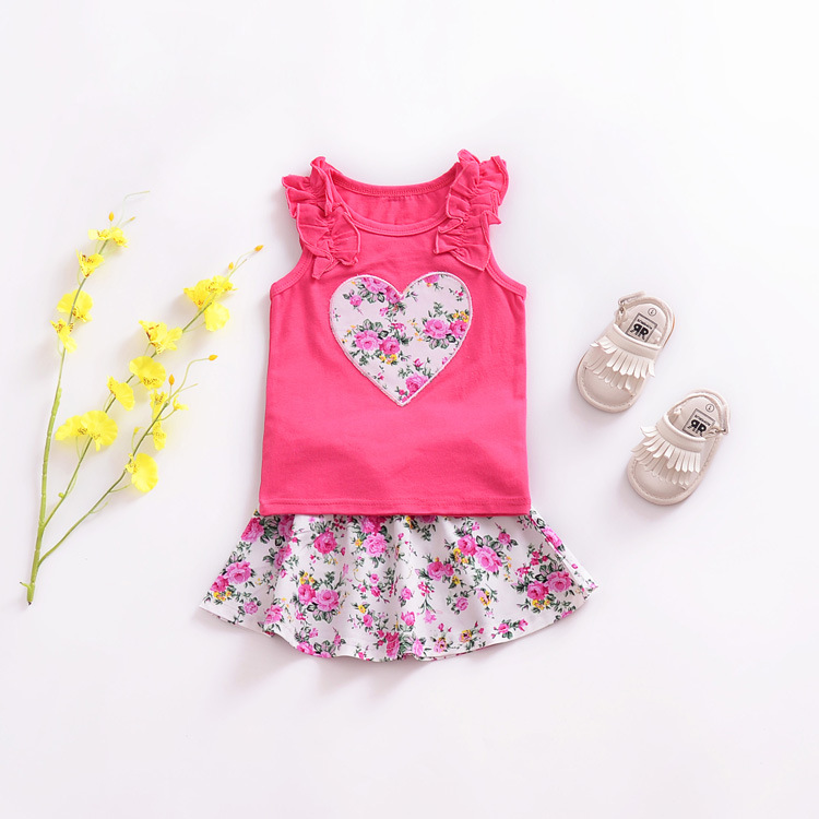 Floral Baby Girl Ruffled Shirts Floral Skirts Outfit Boutique Kids Set