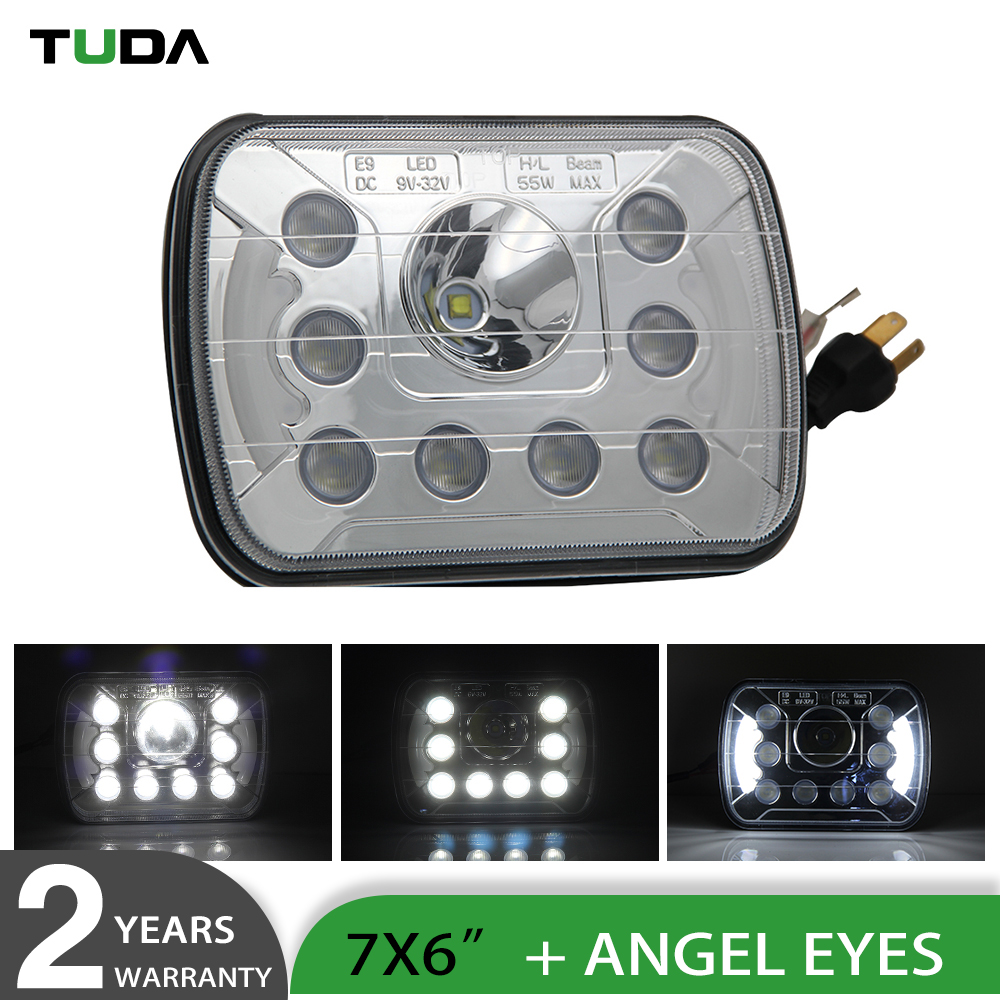 Best Selling Angel Eyes Halo 6*7inch Waterproof Jeep Wrangler 7 Inch Led Headlight,DRL 55W 12V Led Headlight