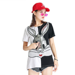 2018 Yativi new fashion bugs bunny cartoon sequin v-neck design t shirt for women girl and ladies