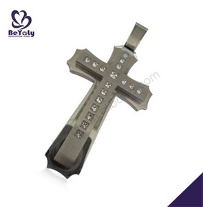 Excellent cz inlaid cross design titanium enamel fine jewelry