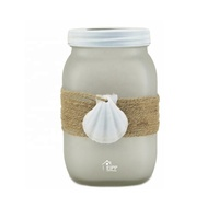 Ocean Style White Frosted Glass Candle Jar Tea Light Holder with Seashell Decoration