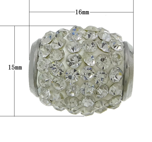 Free shipping!!!Stainless Steel End Caps,Korean, 304 Stainless Steel, Drum, with rhinestone, oril color, 16x15mm