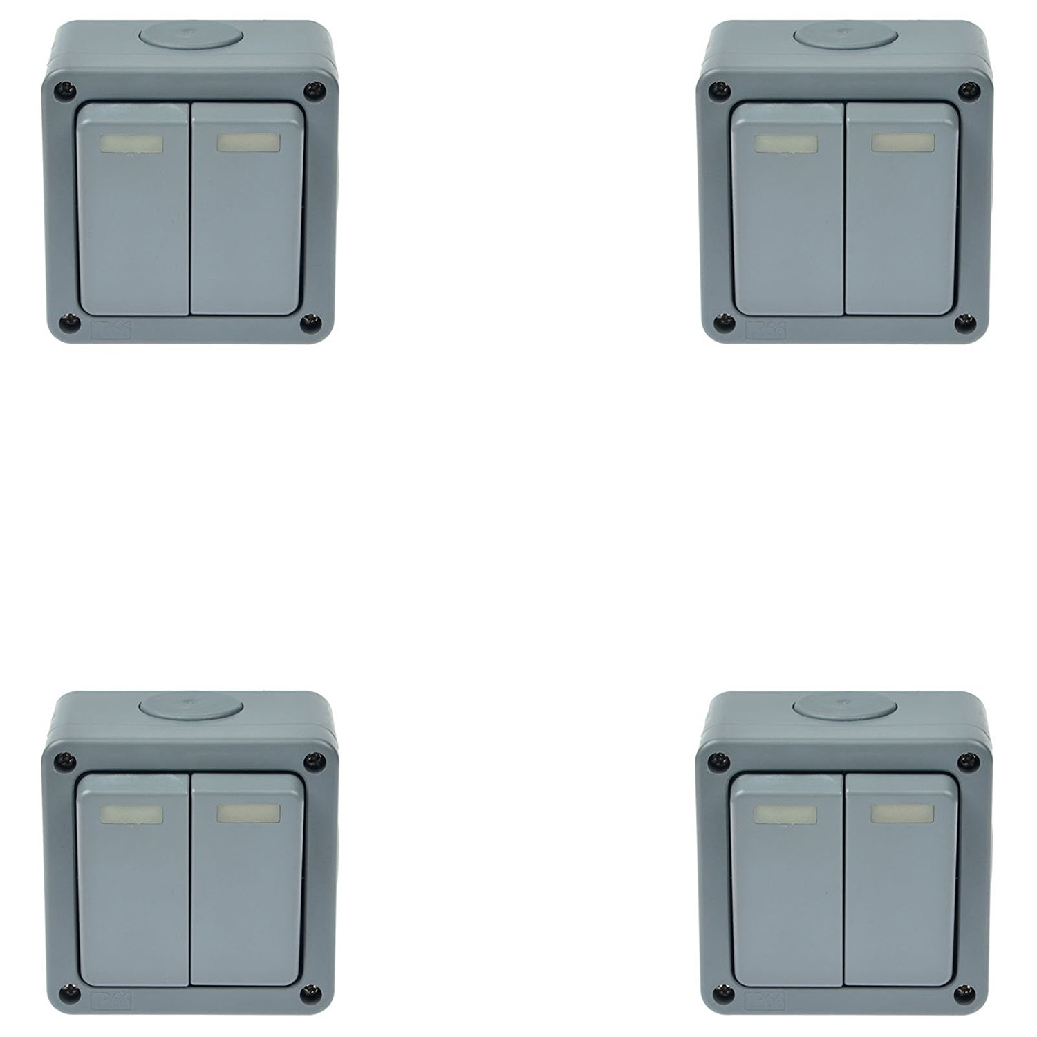 GREENCYCLE 4 Pack Outdoor IP66 Rated Weatherproof 10A Grey 2 Gang Socket 2 Way Dual Switch