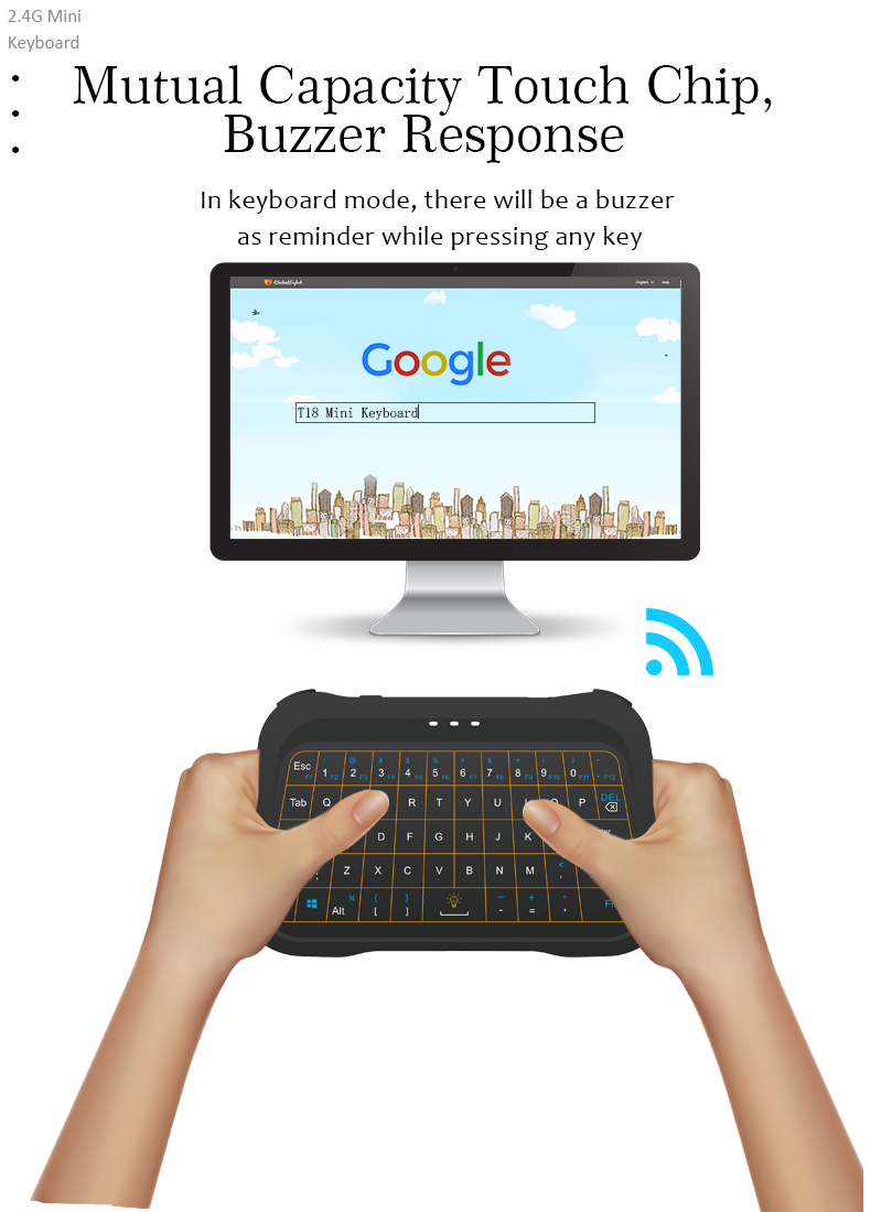 Convient operation T18 wireless keyboard and touchpad remote controller with 2 operating mode