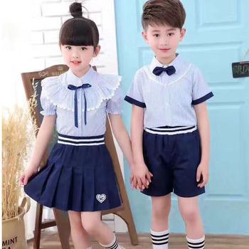 8364a57976 Venta caliente niños niñas de la escuela vestidos de algodón uniforme  diseño azul Falda corta pantalones
