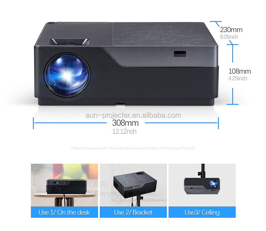 AUN Android Full HD Proyektor, Resolusi 1920X1080P. M18 Cheep 3D Home Theater Dukungan 4K Proyektor Grosir Dropshipping