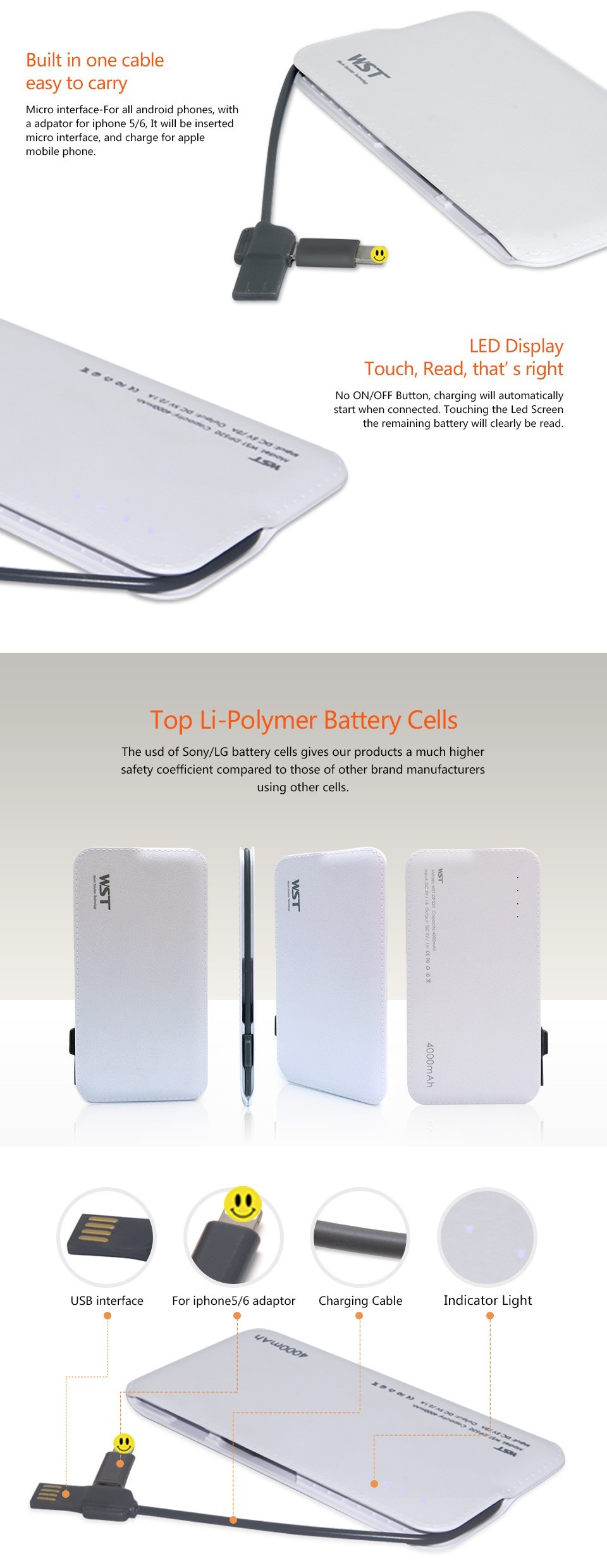 Custom logo Micro-usb charging cable 4000 mah mobile phone power banks