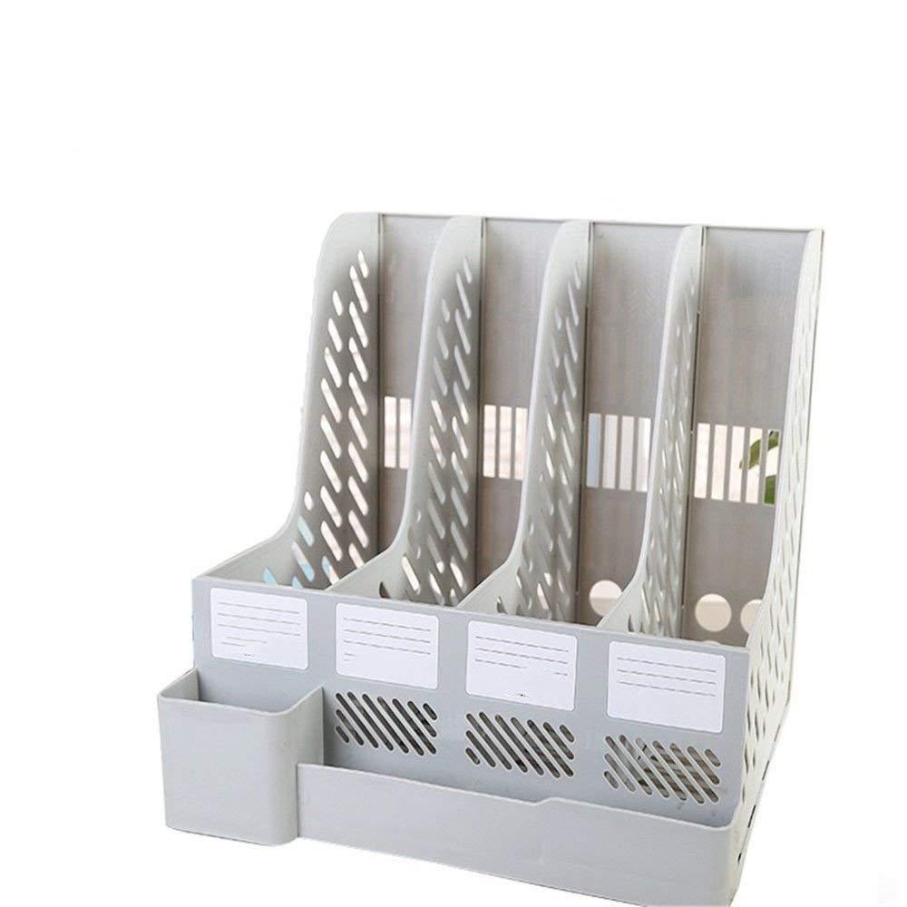 Plastic Holder with Pen Holder Document Divider File Cabinet Rack Display and Storage Manager 4 Grid Desktop Magazine/File Rack Office Supplies,24.526.541cm,Gray