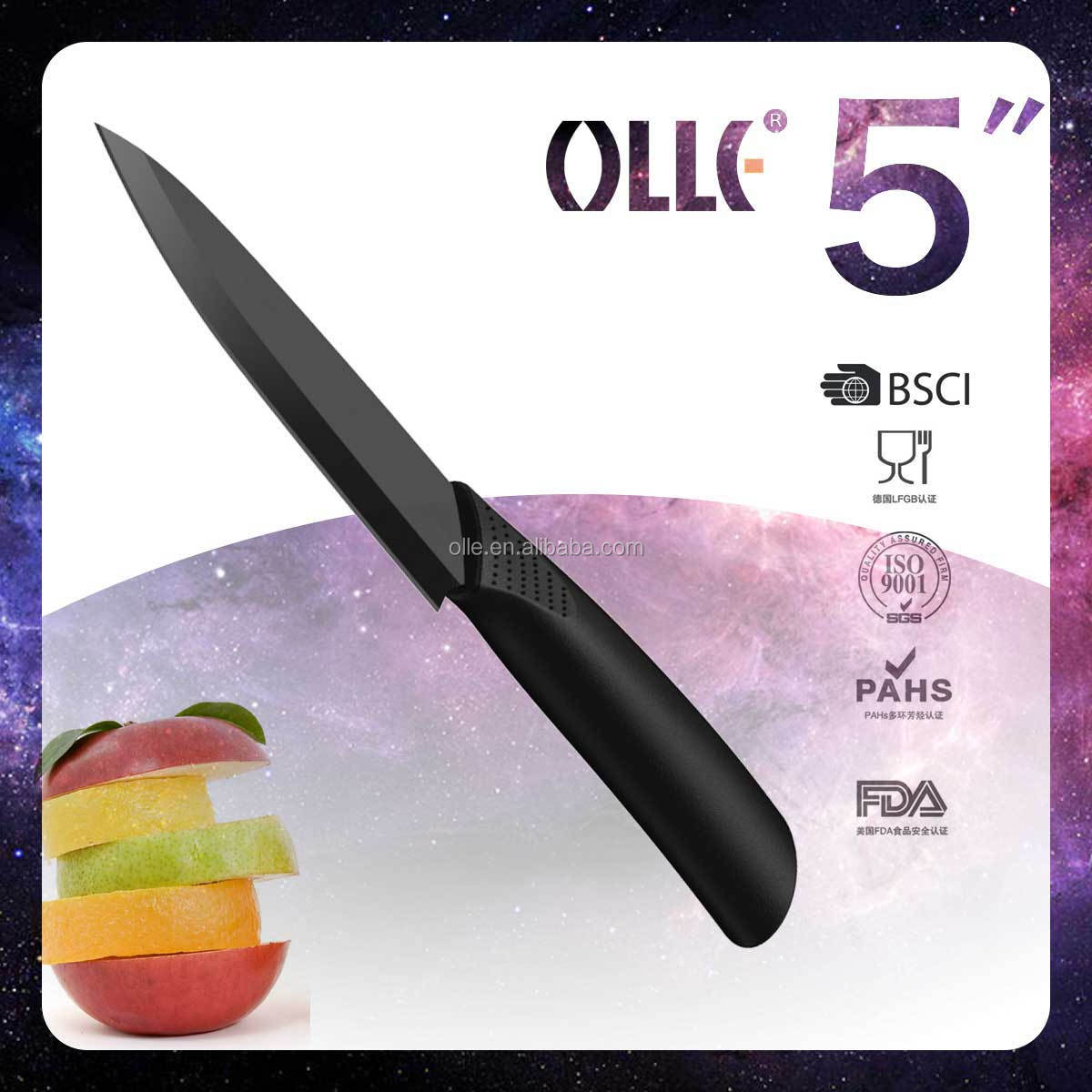 5 Inch Olle Classical Straight Handle Kitchen Matt Black Ceramic Knife