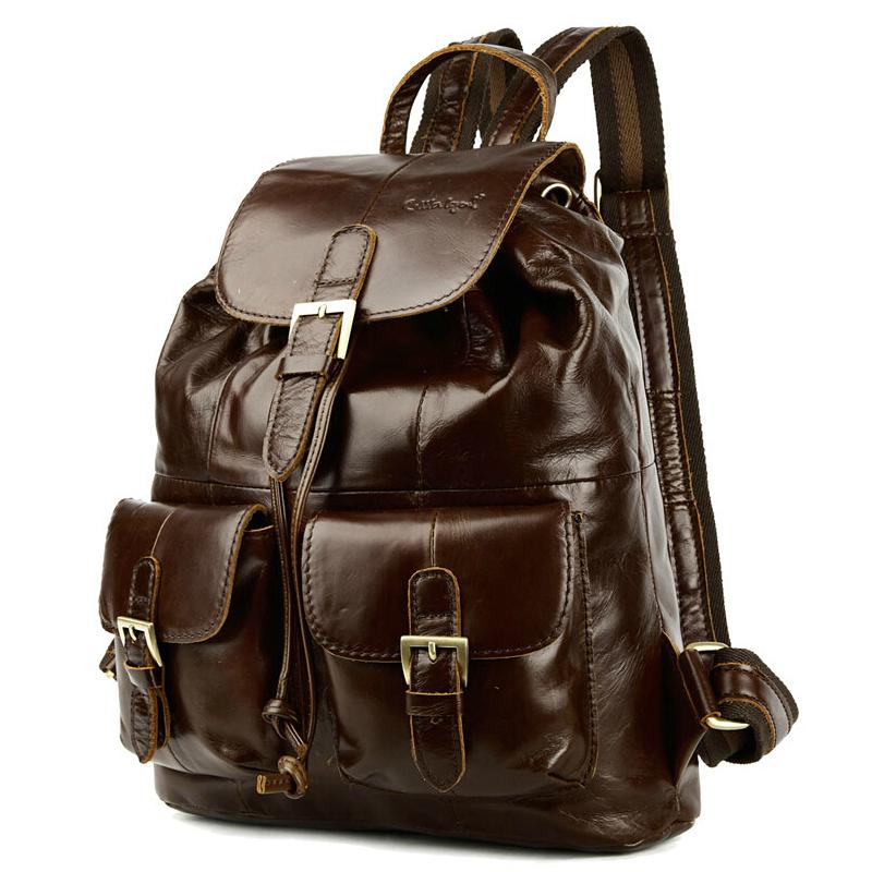 19bdb4c58fe2 высокое качество темно коричневый воловья кожа женщин Рюкзаки путешествия  мешок ежедневно мода случайные сумки рюкзак mochilas