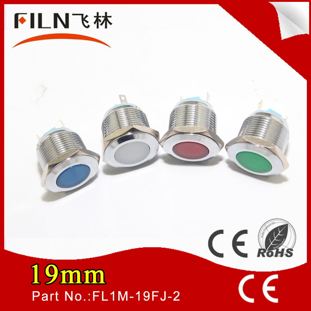 FILN Metal Flat head Solder pin red stainless steel 220v 12v 19MM Pilot flashing red lights