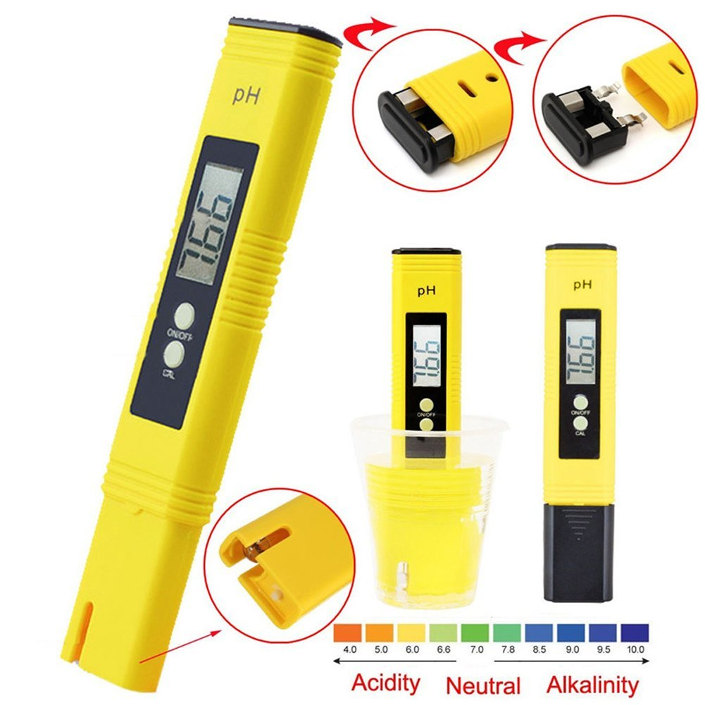 Digital PH Meter, PH Tester, Mini Water Quality Tester for Household Drinking Water, Swimming Pools, Aquariums, Hydroponics, pH Measurement for 0-14.0 pH with ATC