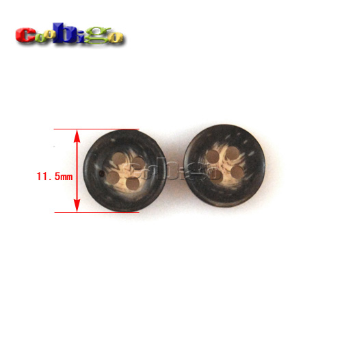11.5mm(18L) Fashion Wood Grain Resin Buttons 4 Holes Sewing Craft DIY Accessories For Bag Shoe Garment #FLN004-11.5B