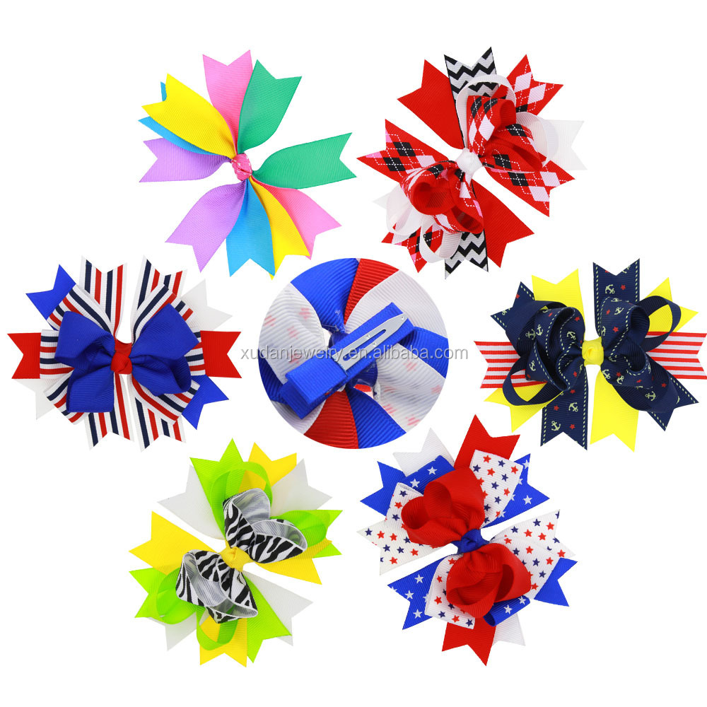 American Flag Ribbon Bow With Clip For Kids Girls Handmade 4th Of July Hairgrips Hairpin Hair Bobby Pin Accessories