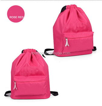 fca16491167c Waterproof Drawstring Gym Bag Polyester Sport Travel Backpack Wet Dry  Clothes Storage Bag With Multi Pockets