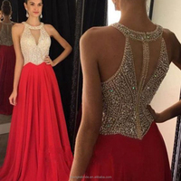 High quality New Collection Women Party Dresses Beaded Real Photo Long Chiffon Halt Prom Dress 2017