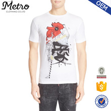 OEM Wholesale White Printed Short Sleeve O-neck Spandex Mens T-shirt