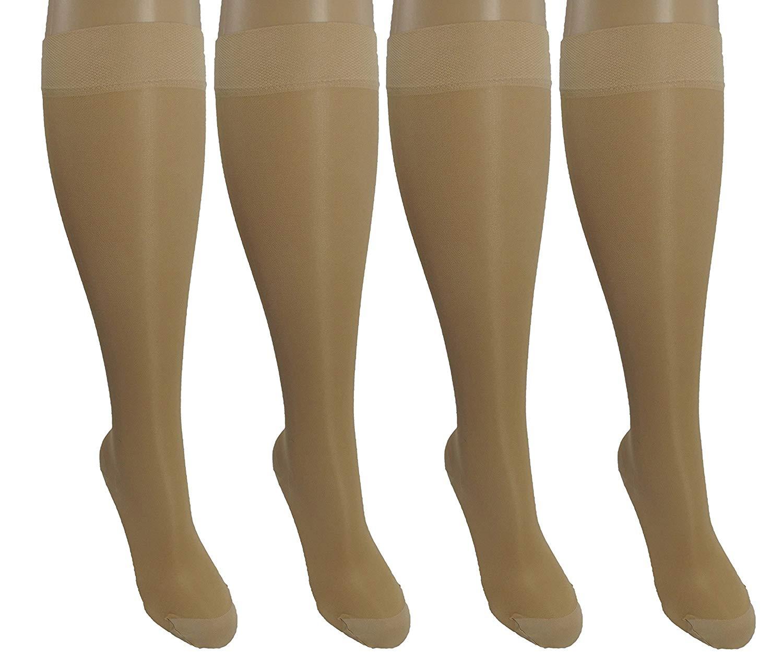 4 Pair Sheer Large/X-Large Ladies Compression Socks, Moderate/Medium Graduated Compression 15-20 mmHg. Nurses, Work, Therapy, Travel & Flight Knee-High Hosiery. Color: Nude