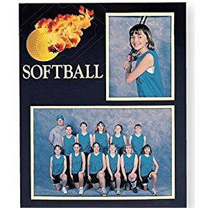 Softball Player/Team 7x5/3.50x5 MEMORY MATES cardstock double photo frame sold in 10's - 5x7