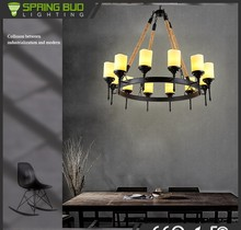 Loft black round Iron Hemp rope chandelier lighting europe pendant light