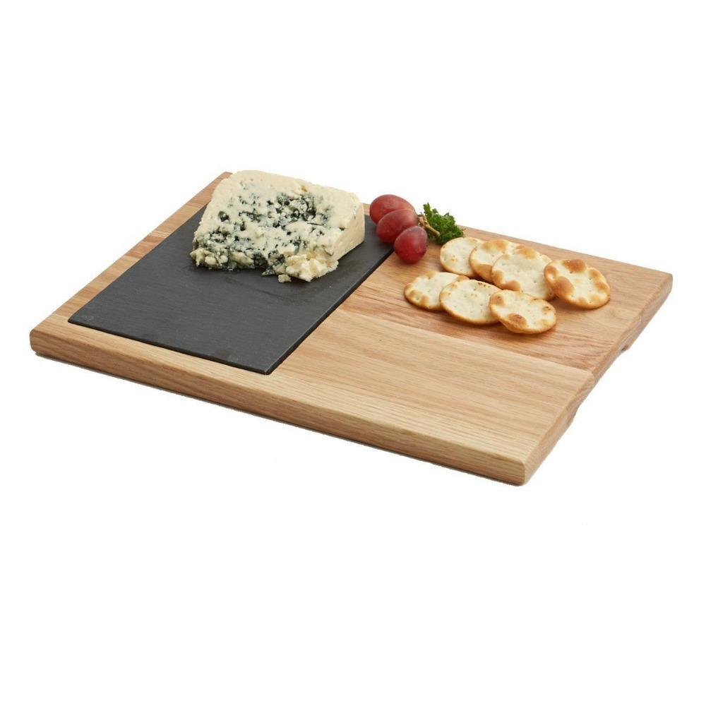 Natrual Oak Wood Slate Stone Cheese Board
