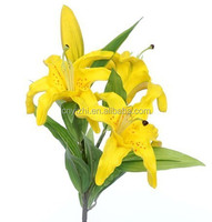 real touch Artificial yellow PU Lily Flower 4 heads lily