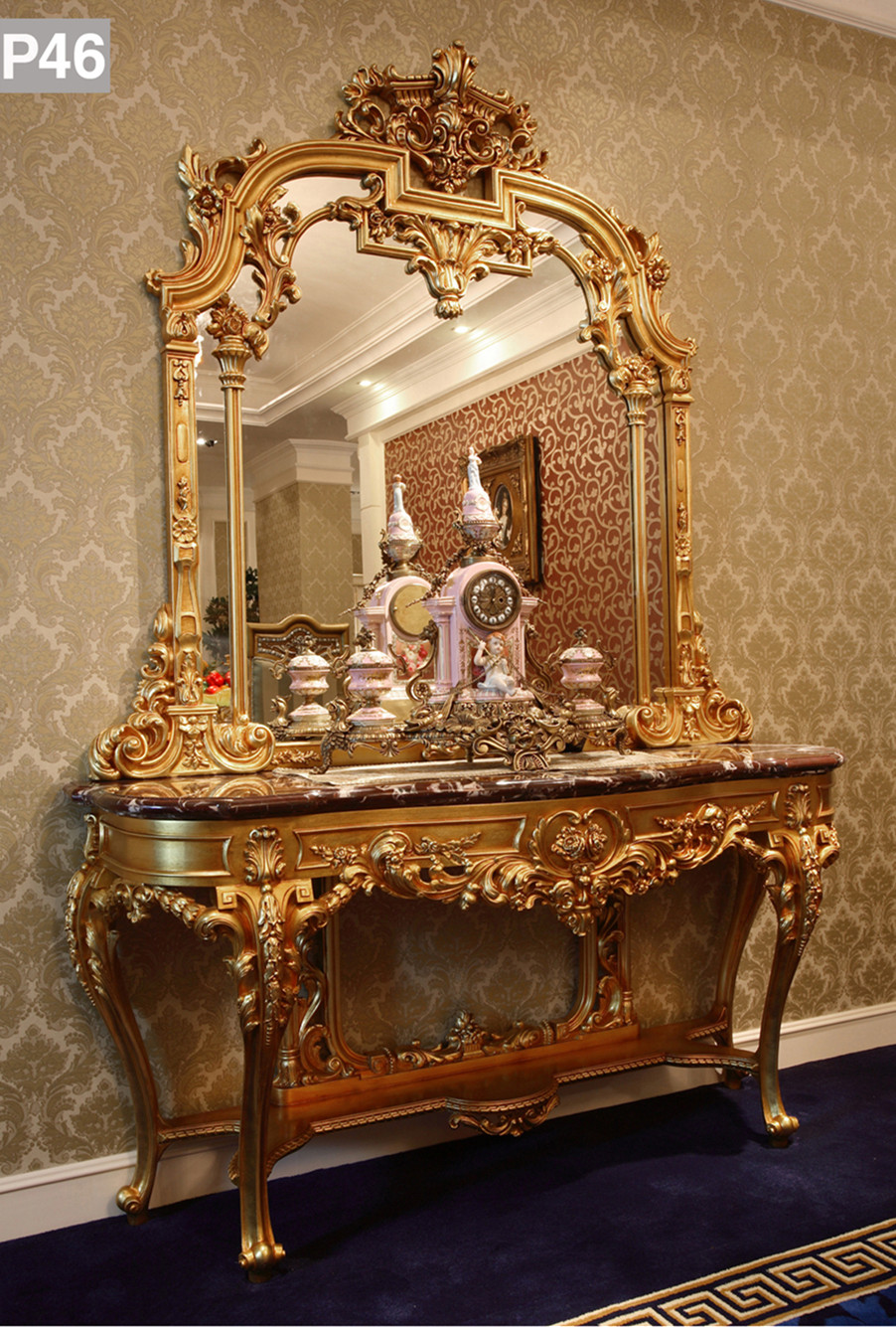 hallway table and mirror. Luxury French Louis XV Style Golden Console Table \u0026 Mirror/European Classic Living Room Vivid Hallway And Mirror