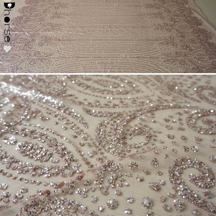 Rose gold shiny glitter sequin plain embroidery tulle lace fabric DHGL0920 fa7db7d304e9