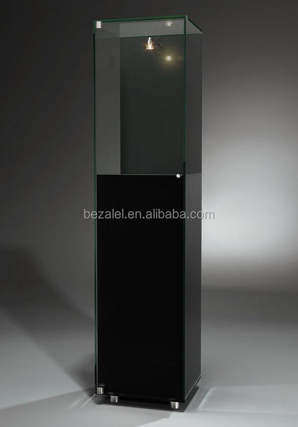 Contemporary display case stainless steel illuminated museum