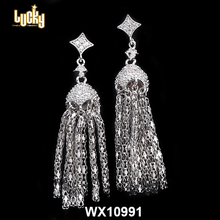 Fashion jewelry factory cheap earrings long tassel earrings for pearl