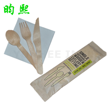 Biodegradable Wooden Disposable Cutlery Fork Knife Spoon Napkin Set