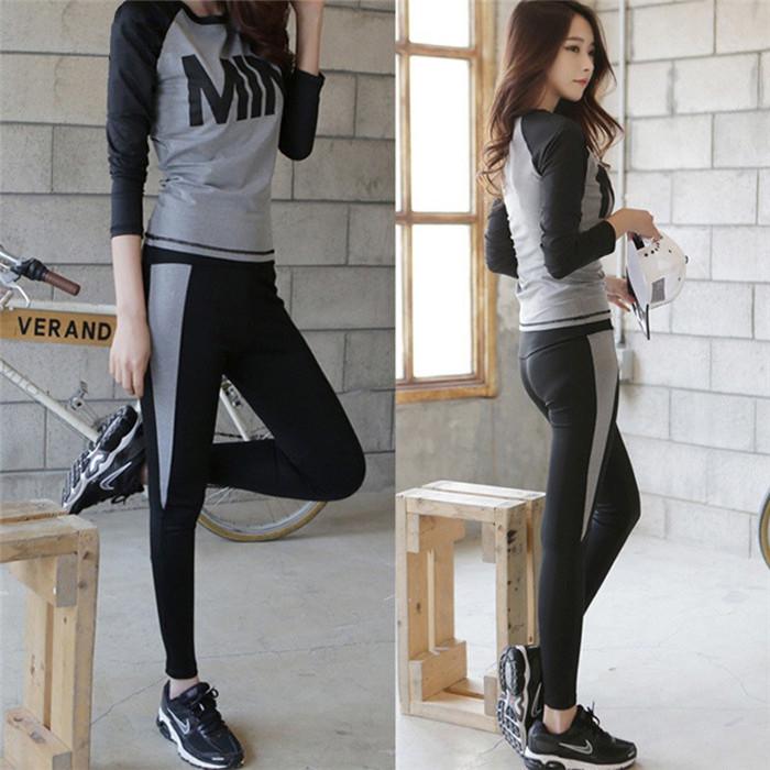 e9d574945561d Fitness Egzersiz Giyim Ve kadın Spor Spor Koşu Kızlar İnce Tayt + Kadınlar  Için Yoga Setleri