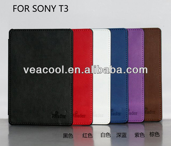 New Book Style PU Leather Case Cover for Sony PRS T3 eBook Reader Tablet Case