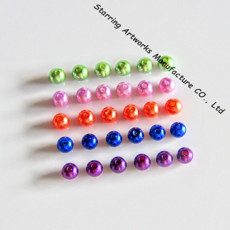 Plastic Material Colored 6mm Bulk Loose Pearl Beads